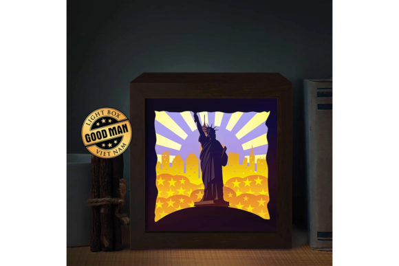 Statue of Liberty 3D Paper Light Box Graphic 3D Shadow Box By LightBoxGoodMan