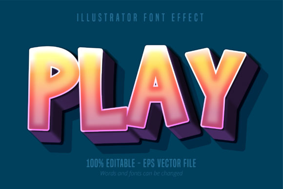 Print on Demand: Strong Bold 3D Cartoon Style Font Effect Graphic Graphic Templates By Mustafa Bekşen