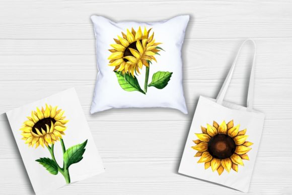 Print on Demand: Sunflower Clipart Watercolor Graphic Illustrations By  Magic world of design - Image 5