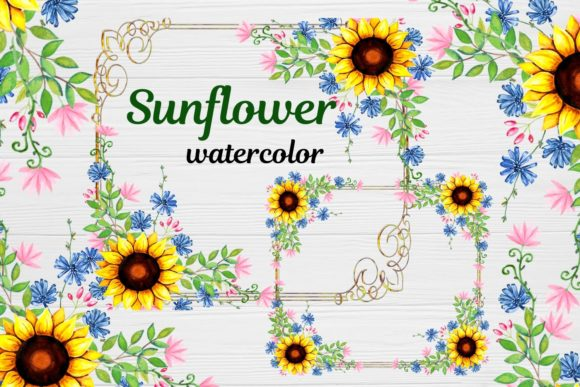 Print on Demand: Sunflower Frames Watercolor Gráfico Ilustraciones Por  Magic world of design