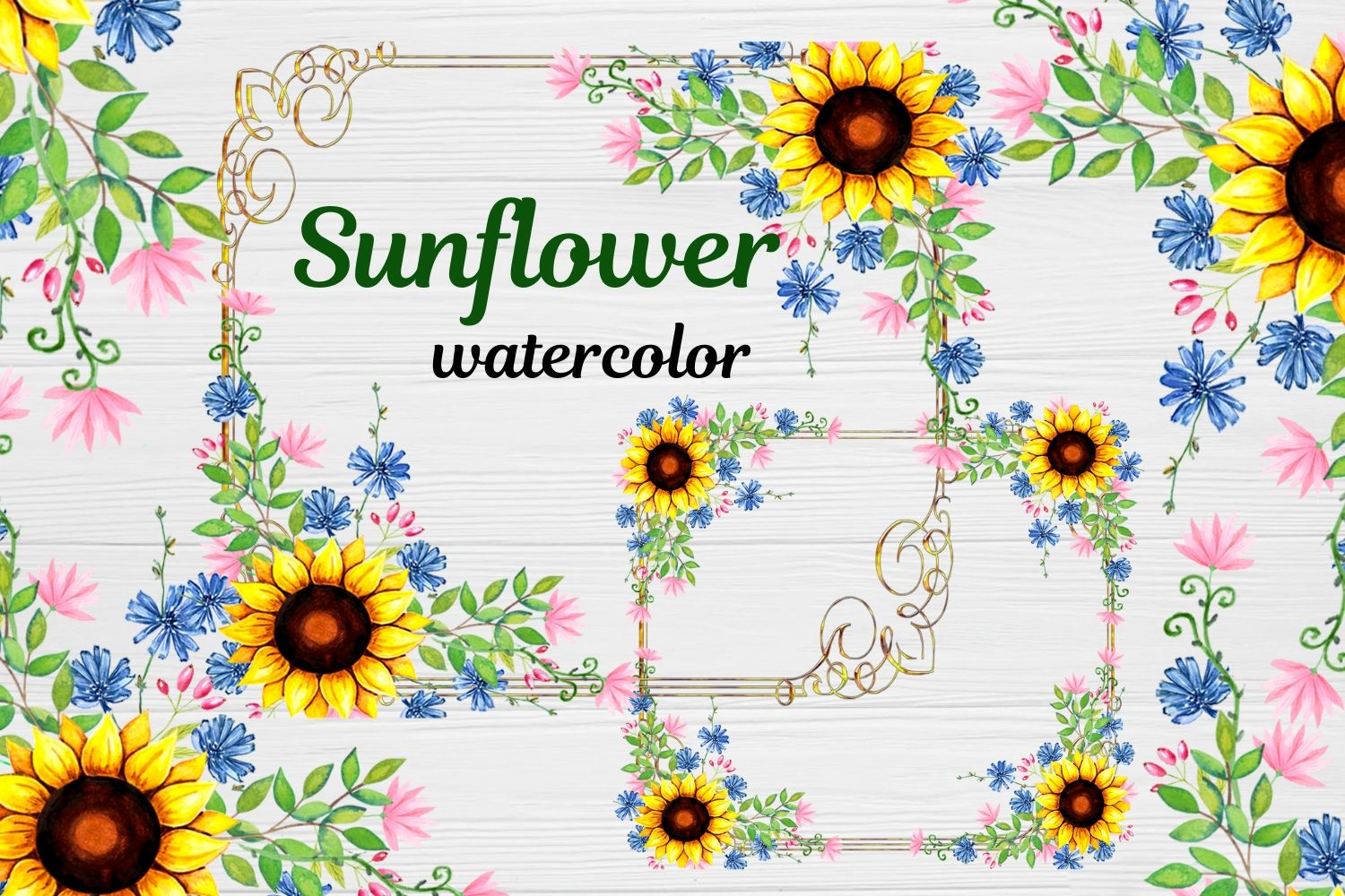 Download Free Sunflower Frames Watercolor Graphic By Magic World Of Design for Cricut Explore, Silhouette and other cutting machines.