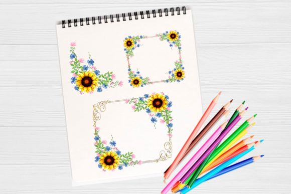 Print on Demand: Sunflower Frames Watercolor Graphic Illustrations By  Magic world of design - Image 2