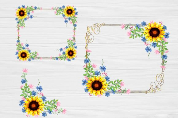 Print on Demand: Sunflower Frames Watercolor Graphic Illustrations By  Magic world of design - Image 3