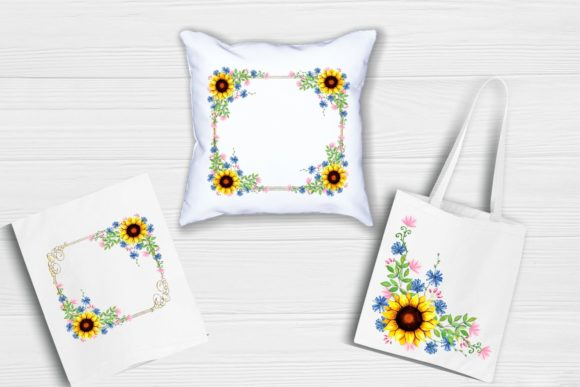 Print on Demand: Sunflower Frames Watercolor Graphic Illustrations By  Magic world of design - Image 6