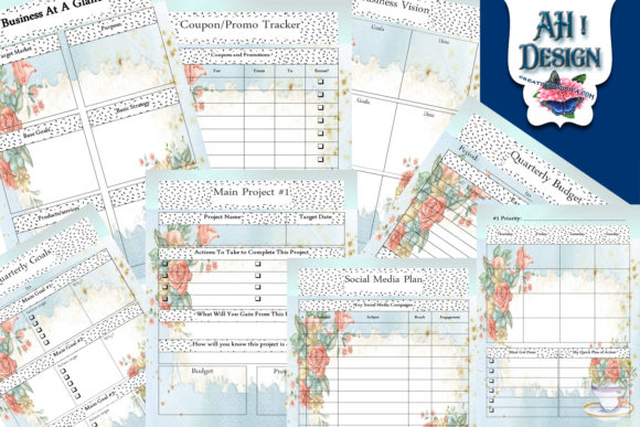 Tea Time Printable Business Planner Graphic Print Templates By AHDesign