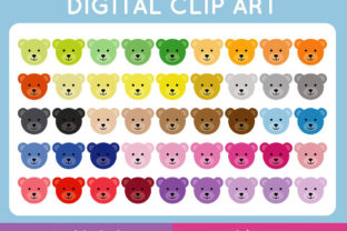 Download Free Teddy Bear Face Clipart Set Graphic By Titatips Creative Fabrica for Cricut Explore, Silhouette and other cutting machines.