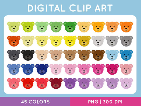 Teddy Bear Face ClipArt Set Graphic Illustrations By TitaTips