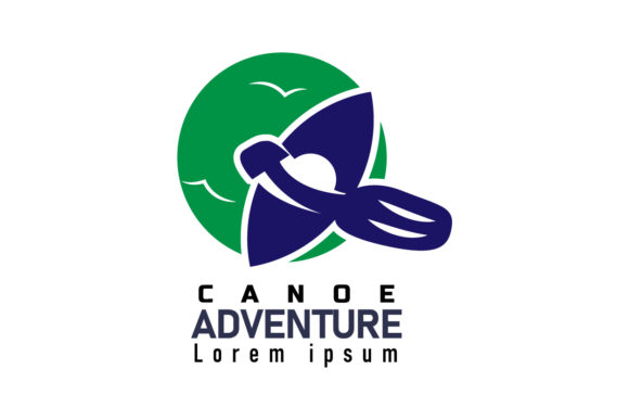 Download Free Template Logo Canoe Adventure Graphic By Bllinkstudio Creative for Cricut Explore, Silhouette and other cutting machines.
