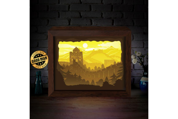 The Great Wall 3d Paper Cutting Lightbox Graphic By