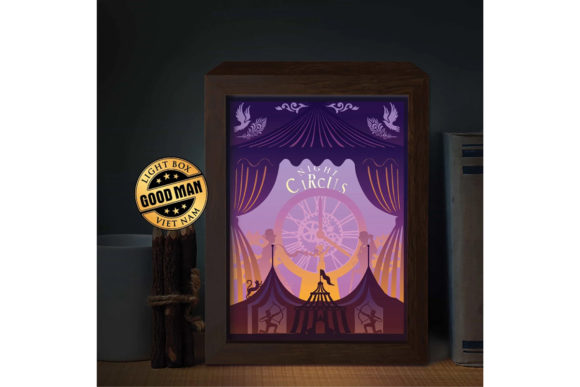 Download Free The Night Circus Paper Cutting Light Box Graphic By for Cricut Explore, Silhouette and other cutting machines.
