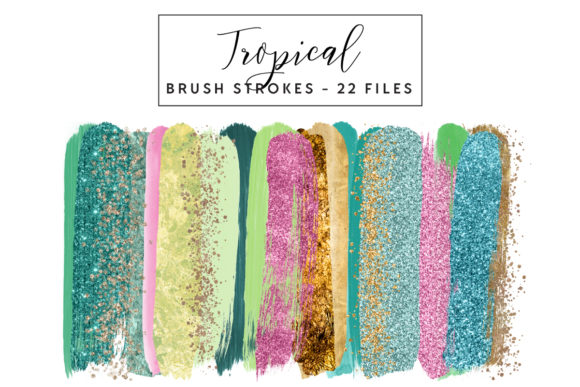Tropical Brush Strokes Graphic Illustrations By clipheartcreations