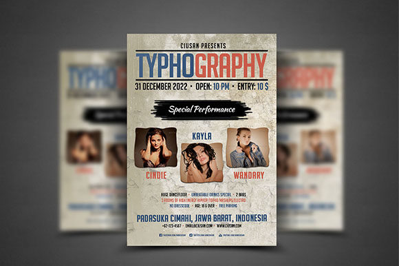 Download Free Typhography Flyer Template Graphic By Ciusan Creative Fabrica for Cricut Explore, Silhouette and other cutting machines.