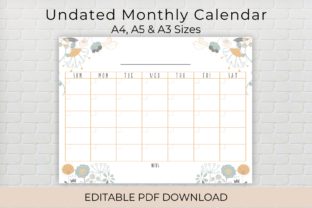 Print on Demand: Undated Editable Monthly Calendar Graphic Print Templates By The Crafty Shop