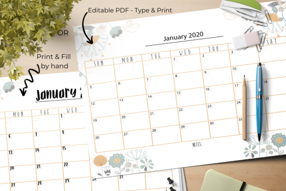 Undated Editable Monthly Calendar Graphic By The Little Crafty