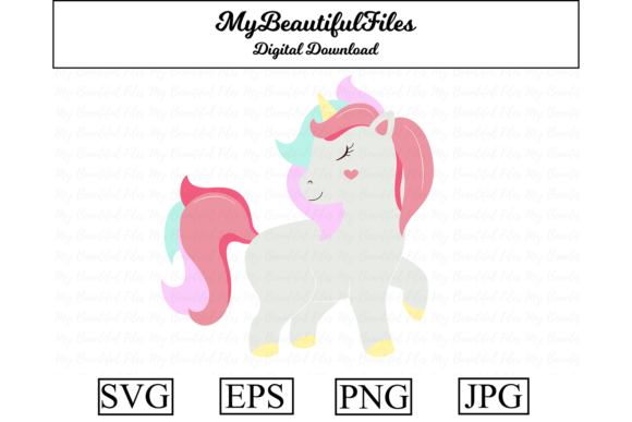 Download Free Unicorn Clipart Design Graphic By Mybeautifulfiles Creative for Cricut Explore, Silhouette and other cutting machines.