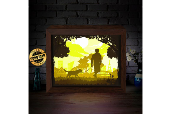 Walking with Dog Paper Cutting Light Box Graphic