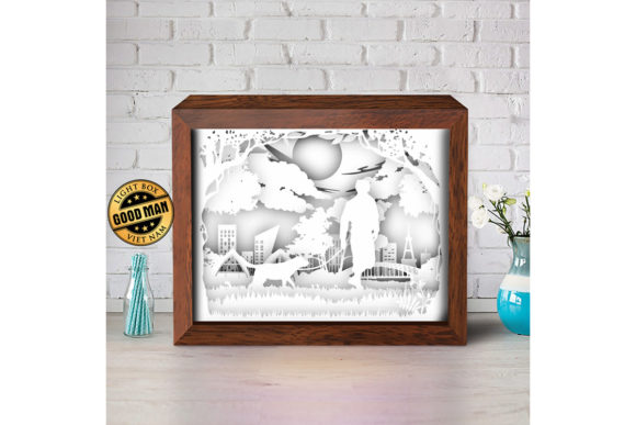 Walking with Dog Paper Cutting Light Box Graphic Item