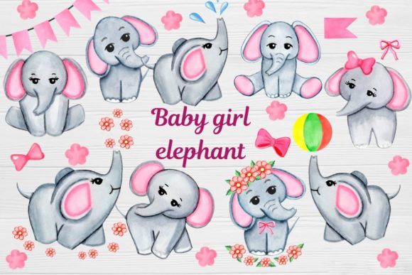 Print on Demand: Watercolor Baby Elephant Clipart, Girl Graphic Illustrations By  Magic world of design