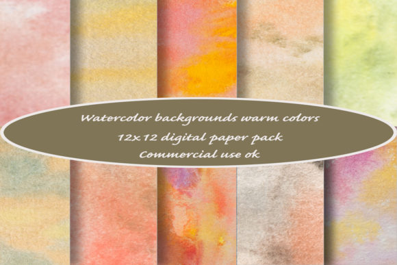 Print on Demand: Watercolor Backgrounds in Warm Colors Graphic Backgrounds By A Design in Time