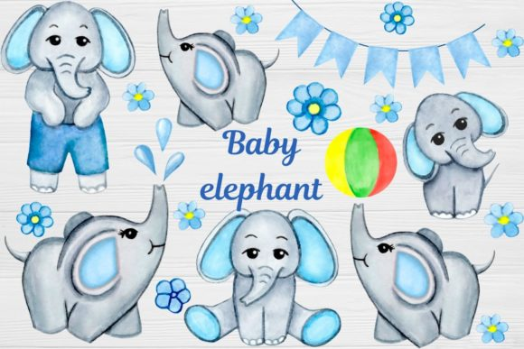 Download Free Watercolor Elephant Clip Art Boy Graphic By Magic World Of for Cricut Explore, Silhouette and other cutting machines.