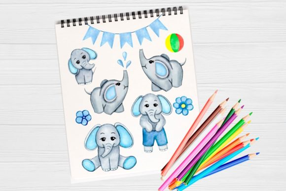 Watercolor Elephant Clip Art Boy Graphic By Magic World Of Design Creative Fabrica