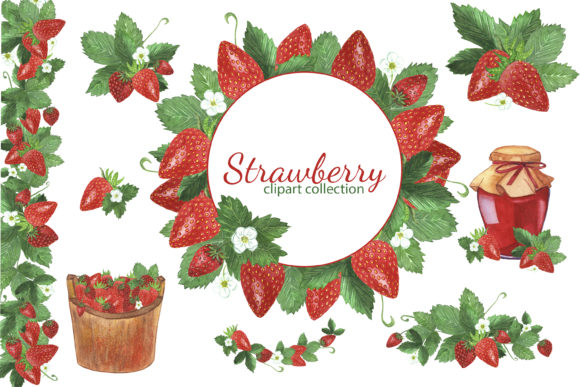 Print on Demand: Watercolor Strawberry Clipart Set Graphic Illustrations By s.yanyeva