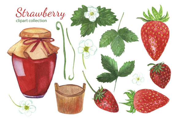 Download Free Watercolor Strawberry Clipart Set Graphic By S Yanyeva for Cricut Explore, Silhouette and other cutting machines.