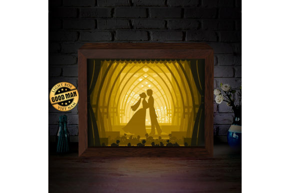 Wedding 2 3D Paper Cutting Light Box Graphic 3D Shadow Box By LightBoxGoodMan