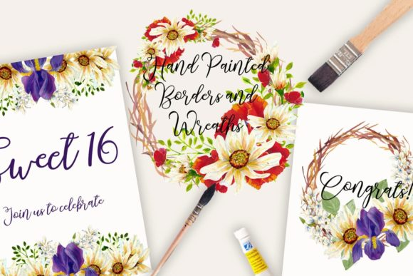 Print on Demand: Wild Flowers Borders and Wreaths Graphic Illustrations By Andreea Eremia Design