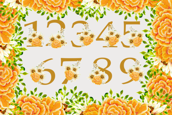 Download Free Wild Flowers Gold Alphabet And Numbers Grafico Por Andreea Eremia Design Creative Fabrica for Cricut Explore, Silhouette and other cutting machines.
