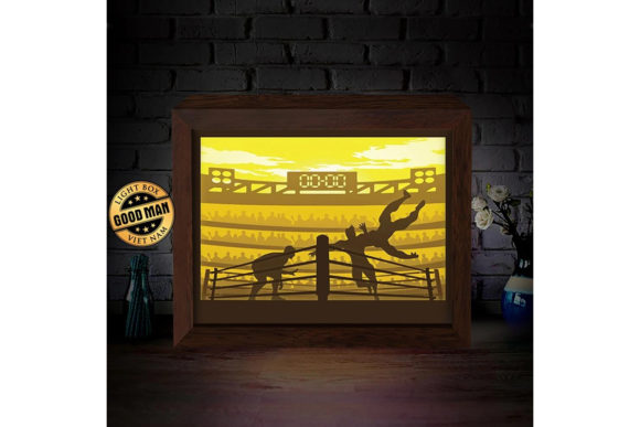 Wrestling 3d Paper Cutting Light Box Graphic By Lightboxgoodman Creative Fabrica
