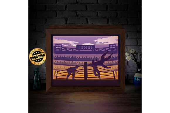 Wrestling 3d Paper Cutting Light Box Graphic By Lightboxgoodman