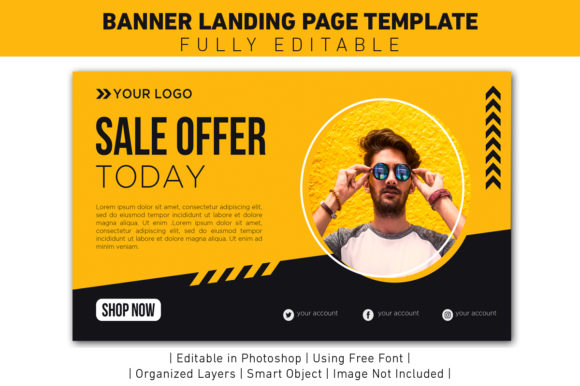 Banner Sale Offer Yellow and Black Grafik Web Templates von ant project template