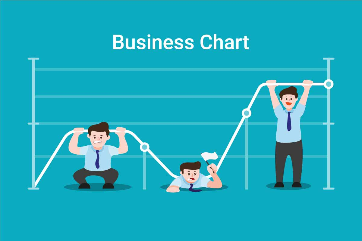 Download Free Business Graph Chart With Office Worker Graphic By Aryo Hadi for Cricut Explore, Silhouette and other cutting machines.