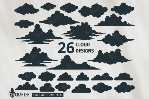 Download Free Cloud Vector Design Bundle Graphic By Great19 Creative Fabrica for Cricut Explore, Silhouette and other cutting machines.