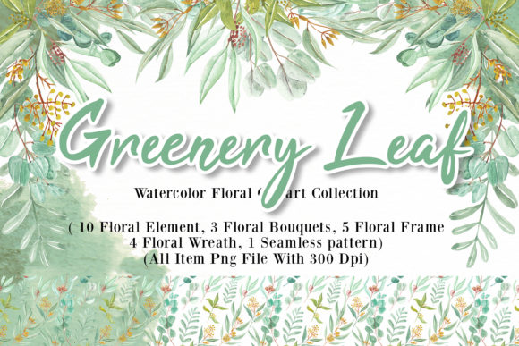 Print on Demand: Greenery Leaf Watercolor Illustration Graphic Illustrations By OrchidArt