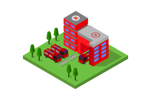 Download Free Isometric Fire Station Graphic By Marco Livolsi2014 Creative for Cricut Explore, Silhouette and other cutting machines.