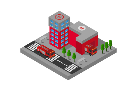 Download Free Isometric Fire Station Graphic By Marco Livolsi2014 Creative Fabrica for Cricut Explore, Silhouette and other cutting machines.