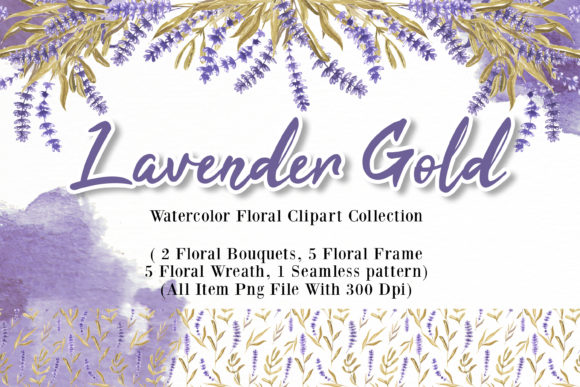 Print on Demand: Lavender Gold Watercolor Illustration Graphic Illustrations By OrchidArt
