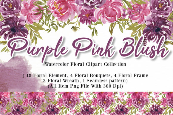Print on Demand: Purple Pink Blush Flower Watercolor Graphic Illustrations By OrchidArt
