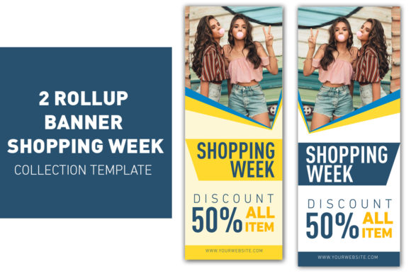 Rollup Banner Sale Blue and Yellow  Graphic Web Templates By ant project template