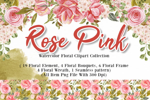 Print on Demand: Rose Pink Watercolor Illustration Set Graphic Illustrations By OrchidArt