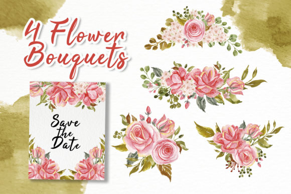 Print on Demand: Rose Pink Watercolor Illustration Set Graphic Illustrations By OrchidArt - Image 2