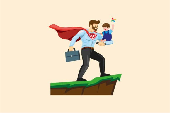 Download Free Superdad Carrying Son Happy Father S Day Graphic By Aryo Hadi for Cricut Explore, Silhouette and other cutting machines.
