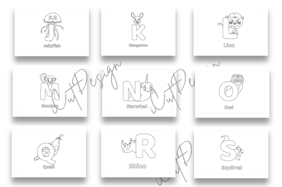 Download Free 1 26 Cute Animals Alphabet Coloring Book Graphic By for Cricut Explore, Silhouette and other cutting machines.