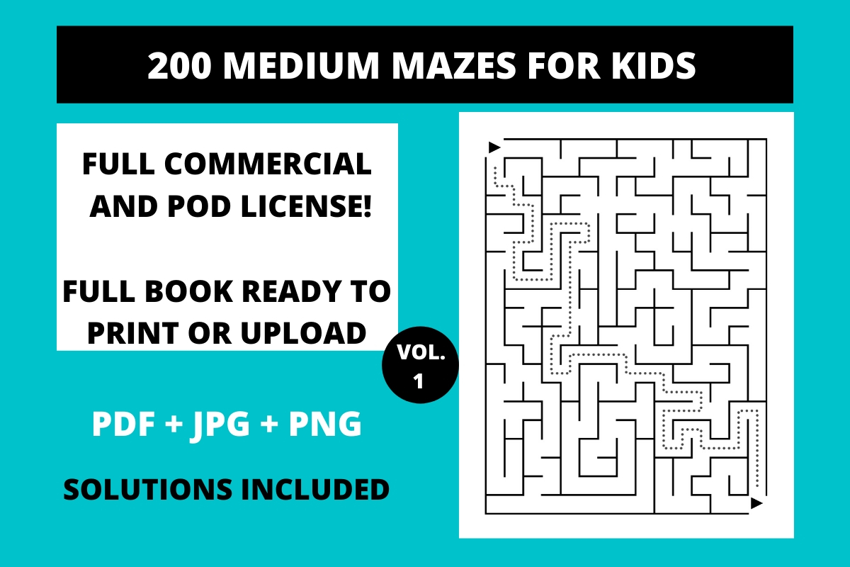 Download Free 200 Medium Mazes For Kids Vol 1 Graphic By Fleur De Tango for Cricut Explore, Silhouette and other cutting machines.