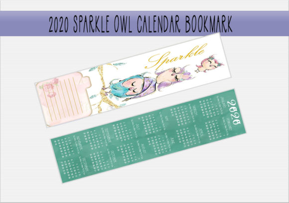 Print on Demand: 2020 Sparkle Owl Calendar Bookmark Graphic Print Templates By CapeAirForce