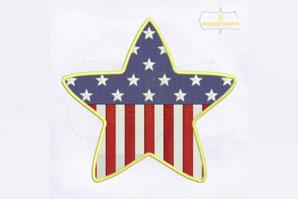 4th of July American Star Independence Day Embroidery Design By RoyalEmbroideries - Image 1
