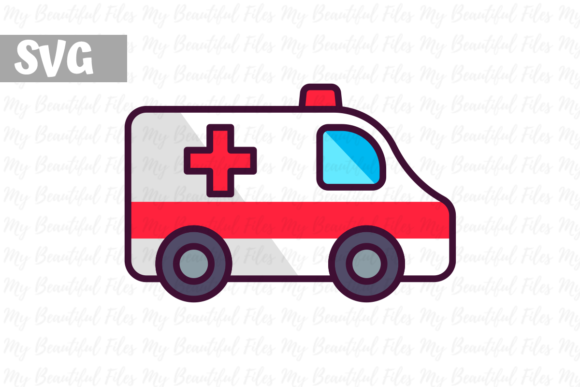 Download Free Ambulance Graphic By Mybeautifulfiles Creative Fabrica for Cricut Explore, Silhouette and other cutting machines.