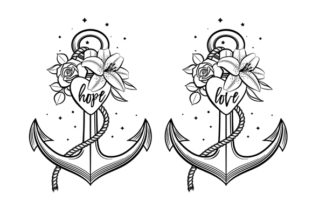Anchor Decorated with Flowers Graphic Crafts By MaddyZ
